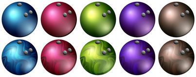 Bowling balls in different colors. Illustration Royalty Free Stock Photos