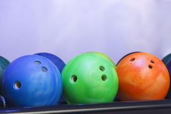 Bowling balls on the wall royalty free stock photos