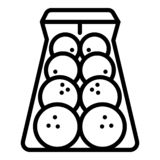 Bowling balls icon, outline style stock illustration