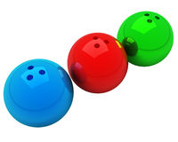 Bowling balls isolated. Three multicolored bowling balls isolated over white Stock Photo