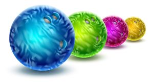 Bowling balls isolated with color marble texture. Royalty Free Stock Photography