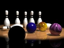 Bowling balls and pins. A three-dimensional rendering of colorful bowling balls and bowling pins Stock Images
