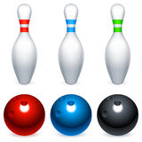 Bowling balls and pins. Royalty Free Stock Images