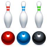 Bowling balls and pins. Set of three bowling balls and three bowling pins Royalty Free Stock Images