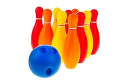 Bowling balls and pins Stock Photos