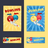 Bowling balls and pins with flags on a yellow and blue backgroun. D poster and flyer Royalty Free Stock Photography