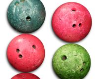 Bowling balls red an green isolated on white Royalty Free Stock Photos