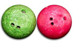 Bowling balls red an green isolated on white Stock Photos
