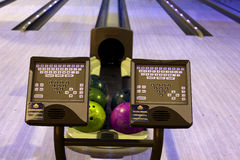Bowling balls in a row Stock Image