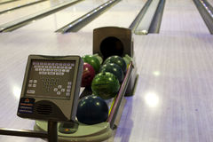 Bowling balls in a row Royalty Free Stock Images