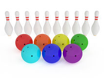 Bowling balls. Bowling skittles and ball isolated on white background Stock Images