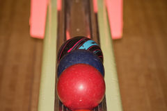 Bowling balls in the track. Three bowling balls in the track Royalty Free Stock Images