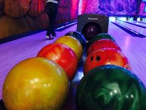 Bowling balls with various colors Royalty Free Stock Image