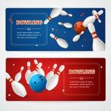 Bowling Banner Card Set. Vector Royalty Free Stock Photos