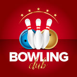 Bowling banner, card template, bowling champ club and leagues symbols. Realistic  vector illustration. Bowling banner, card template, bowling champ club and Royalty Free Stock Images