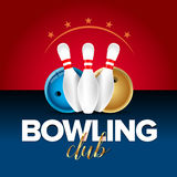 Bowling banner, card template, bowling champ club and leagues symbols realistic  vector illustration. Red and blue version Stock Images