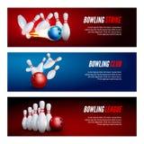 Bowling banner set design. Bowling strike champ club.  Royalty Free Stock Photo