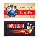 Bowling Banner Set. Bowling horizontal banner set with game pins and ball in fire  vector illustration Royalty Free Stock Images