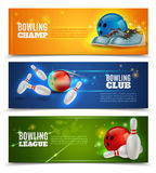 Bowling Banners Set. Bowling horizontal banners set with bowling champ club and leagues symbols realistic isolated vector illustration Stock Images