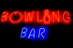 BOWLING BAR neon sign Royalty Free Stock Image