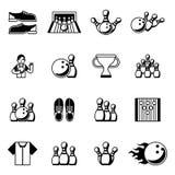Bowling black icons. Signs and symbols vector Royalty Free Stock Photos
