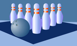 Bowling on a blue Stock Image