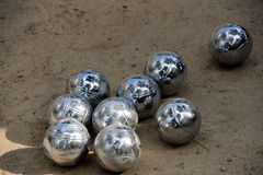 Bowling (bocce) balls. Close-up of steel balls reflecting the sky Royalty Free Stock Photography