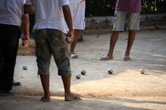 Bowling bocce game. French Riviera. Mediterranean people playing pétanque (bowling game). French Riviera Stock Images