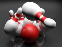 Bowling bowl striking the pins - 3D rendering. A red glossy bowling bowl is striking the white, red-striped, pins, on black background - 3D rendering Royalty Free Stock Images