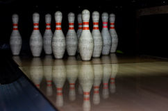 Bowling bowls in row Royalty Free Stock Image