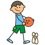 Bowling, boy and bowling bal, vector icon Royalty Free Stock Photography