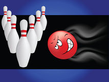 Bowling with cartoon ball stock illustration
