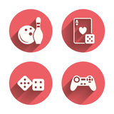 Bowling and Casino signs. Video game joystick Royalty Free Stock Images