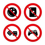 Bowling and Casino signs. Video game joystick Royalty Free Stock Image