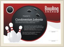 Bowling Certificate / Award template vector Stock Image