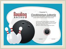 Bowling Certificate / Award template vector. With illustration bowling ball and pins, great for parties, bowling leagues and tournaments Stock Image