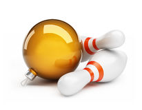 Bowling Christmas ball on a white background Stock Images