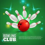 Bowling Club 3D Composition. Hitting ball on pins on green background with flashes and sparks vector illustration Stock Photography