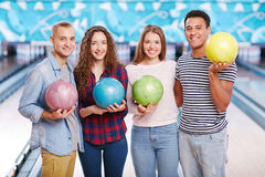 In bowling club Royalty Free Stock Photo