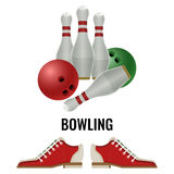 Bowling club logo design of equipment for play and pair of footwear Stock Images