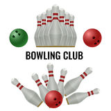 Bowling club logo design of equipment for play. Vector illustration Royalty Free Stock Images