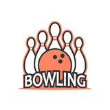 Bowling club logo. Vector in vintage style Royalty Free Stock Photo