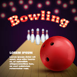 Bowling club poster with red ball and skittles. Vector Stock Photo