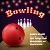 Bowling club poster with red ball and skittles. Vector. Illustration Stock Images