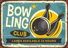 Bowling club retro poster design Royalty Free Stock Image