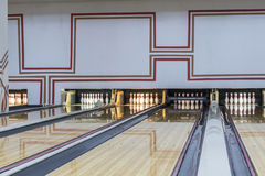 Bowling club with shiny floor and red lines Royalty Free Stock Photos