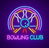 Bowling club sign for entertaining and game. Bowling club sign for entertaining. Club for plaing the game. Skittles and bowling ball on track. Neon sign with Royalty Free Stock Images