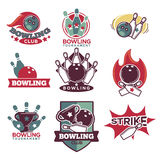Bowling Club and Tournament Logotypes Collection Royalty Free Stock Photo