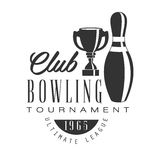 Bowling club tournament ultimate league vintage label. Black and white vector Illustration Stock Images