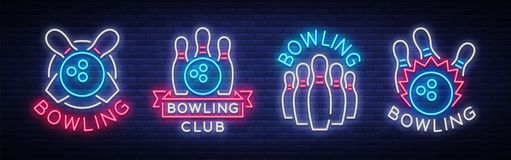 Bowling is collection of neon signs. Collection of Emblem Symbols, Neon Logo, Light Advertising Banner, Night Lighting Stock Images